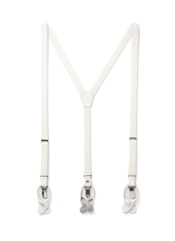 Ice - Skinny White Suspenders - JJ Suspenders