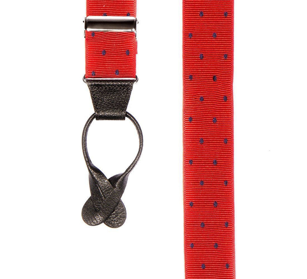 Ink Blot - Spotted Red & Navy Suspenders (Button-on)