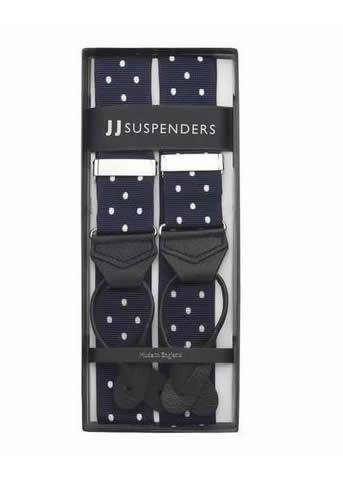 Into The Blue - Spotted Navy & White Suspenders (Button-on)
