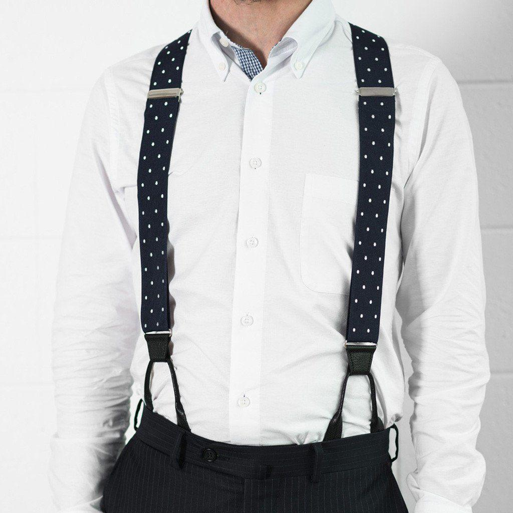 Into The Blue - Spotted Navy & White Suspenders - JJ Suspenders