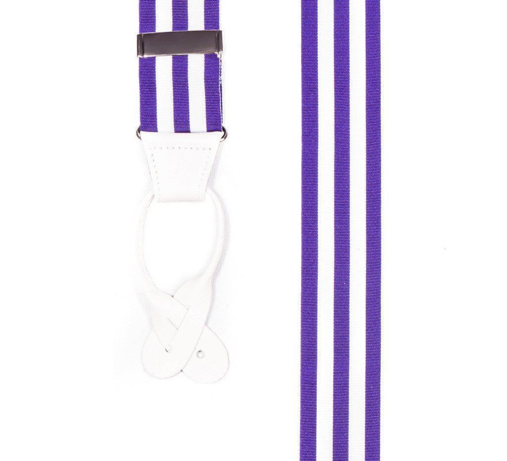 Ivory Violet - Purple & White Striped Suspenders (Button-on)