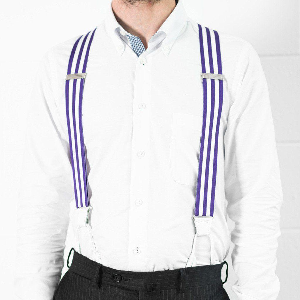 Ivory Violet - Purple & White Striped Suspenders-Taggs