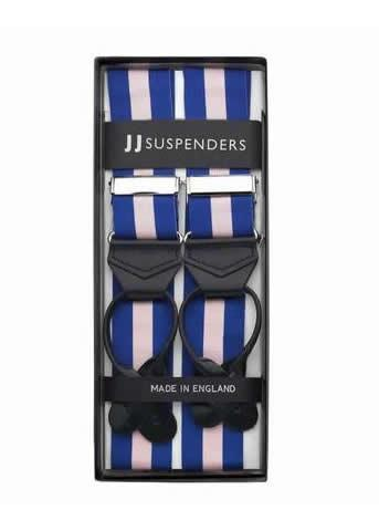 Maybe Baby - Pink and Blue Striped Suspenders (Button-on)