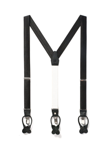Midnight - Classic Black Silk Suspenders - JJ Suspenders