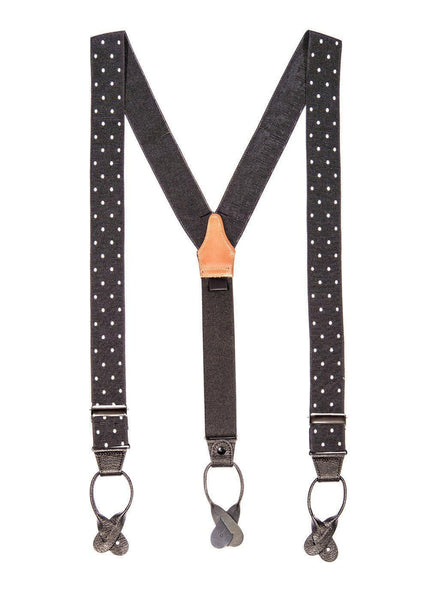 Missed a Spot - Spotted Black & White Suspenders - JJ Suspenders