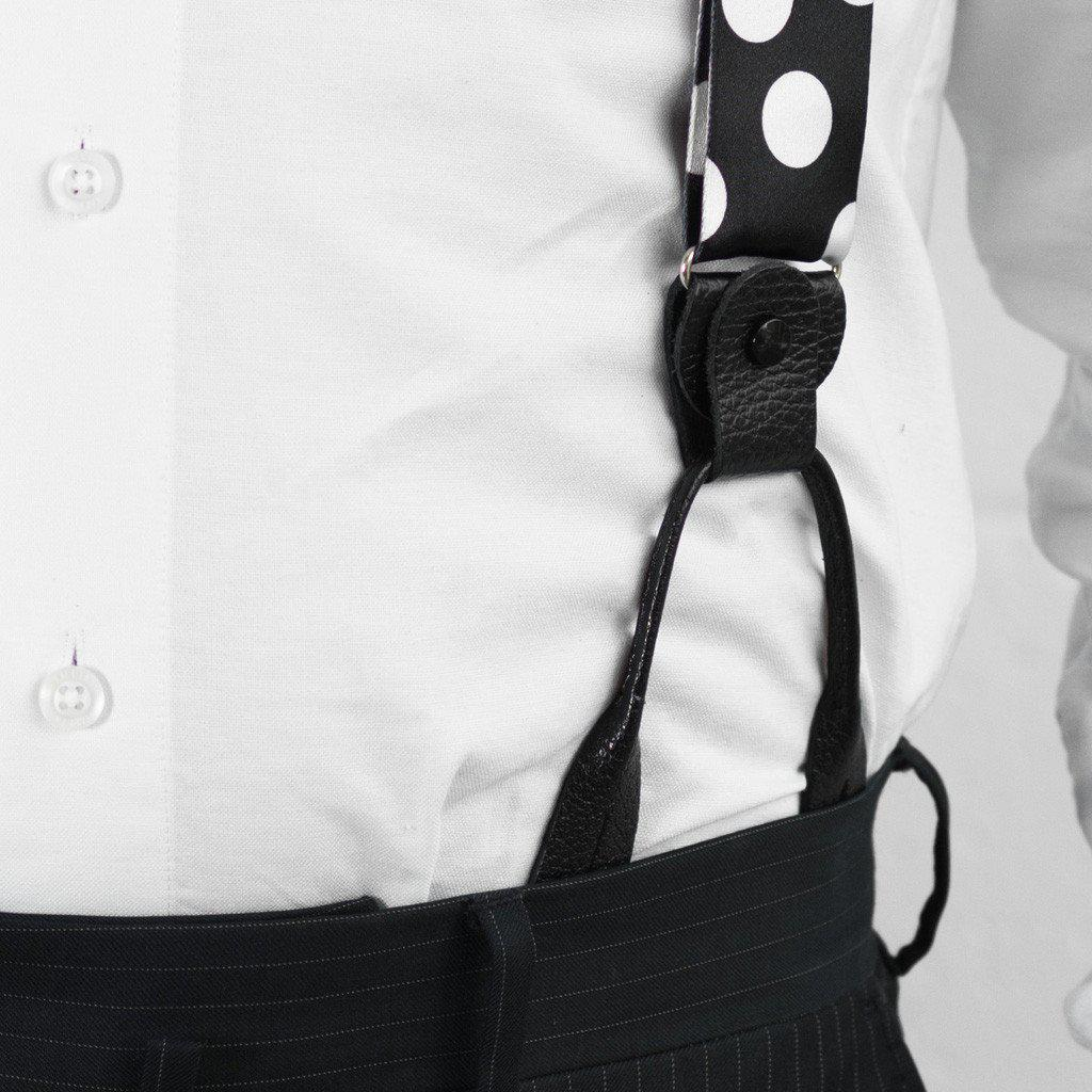Monochrome Madness - Black & White Polka Dot Suspenders - JJ Suspenders