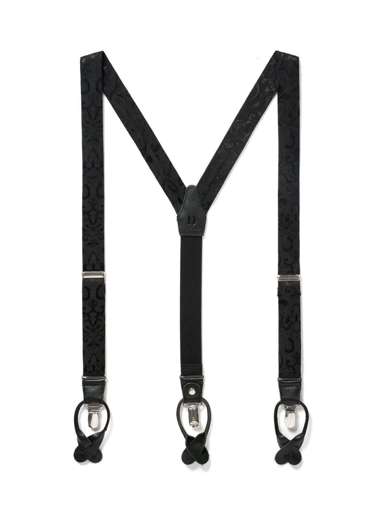 Night Skies - Black Paisley Suspenders - JJ Suspenders