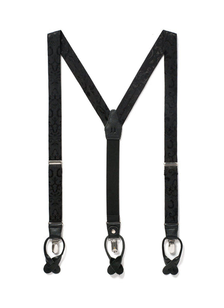 Night Skies - Black Paisley Suspenders-JJ Suspenders