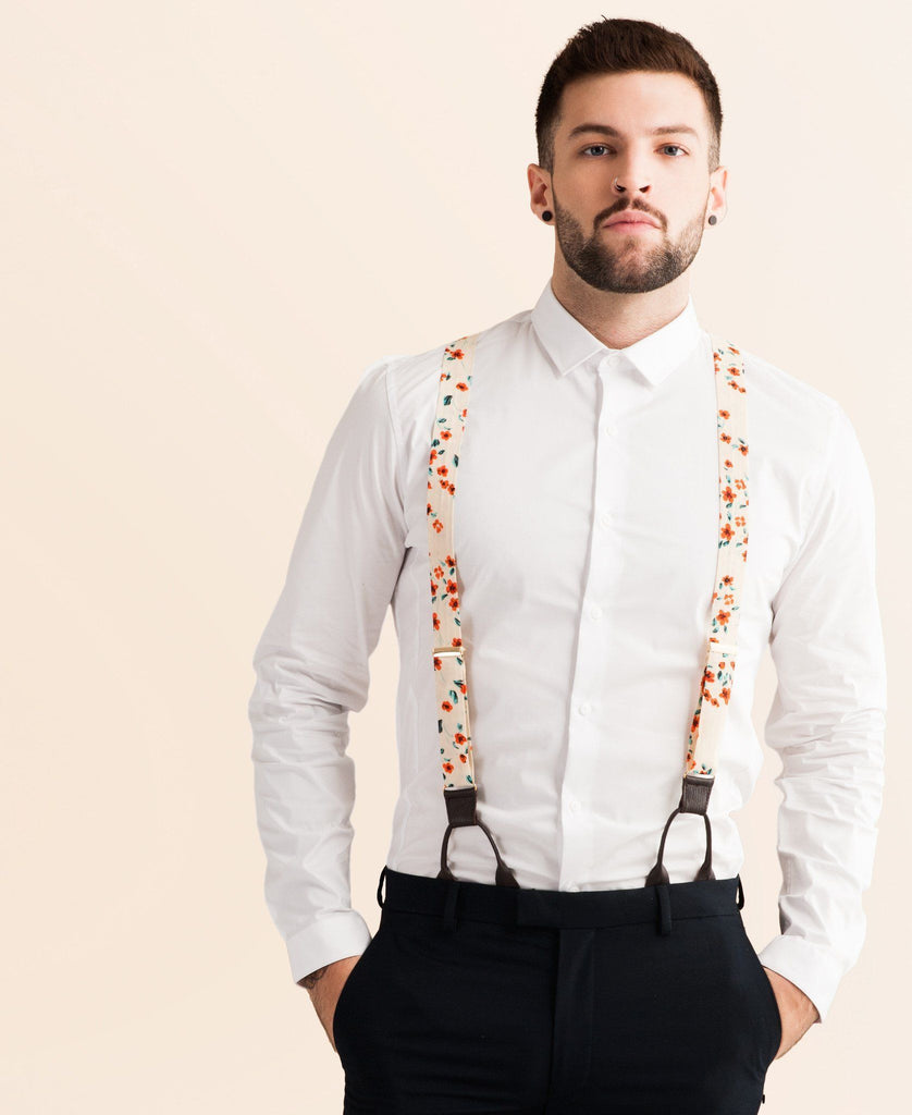 Orange Floral - Classic Orange Suspenders - JJ Suspenders