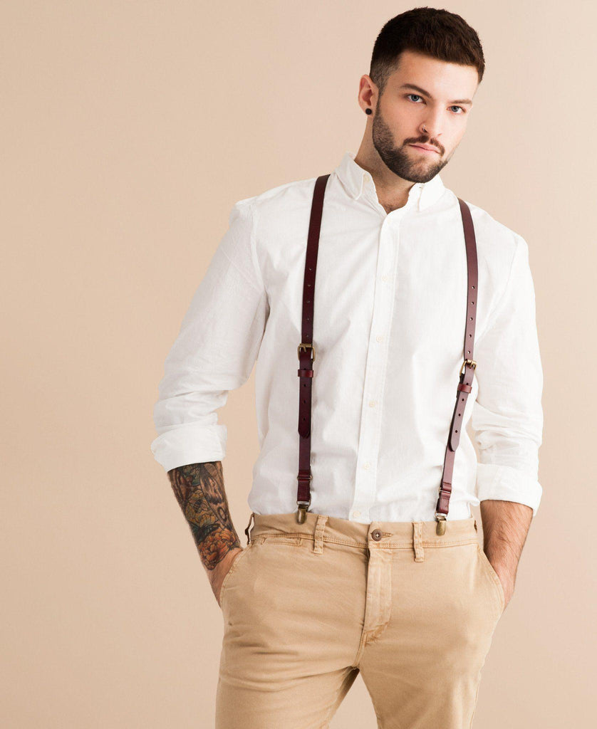 Oxblood - Brown Leather Suspenders - JJ Suspenders