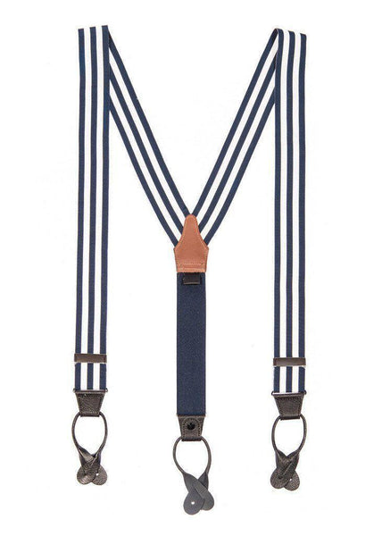 Regal Navy - White & Navy Striped Suspenders - JJ Suspenders