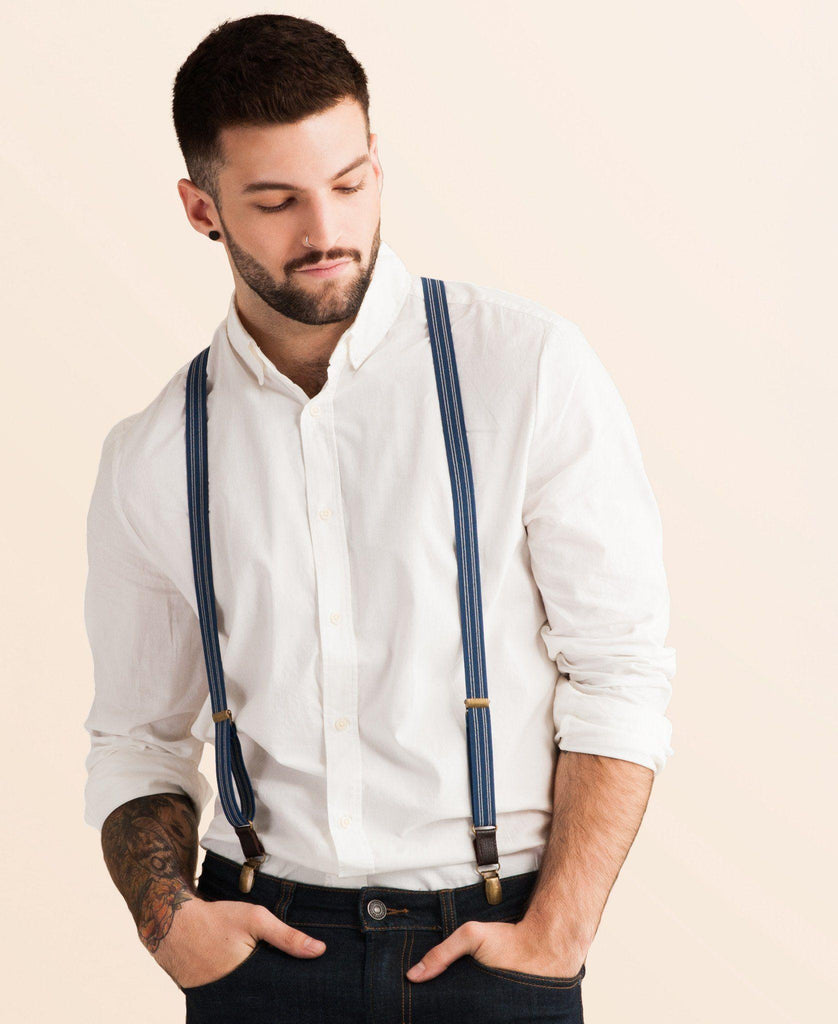 Scholar - Navy Blue Pin Striped Suspenders - JJ Suspenders