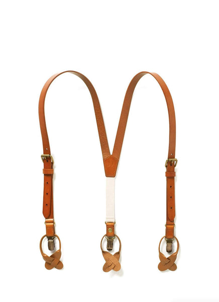Sierra Nevada (Kids) - Tan Leather Suspenders - JJ Suspenders