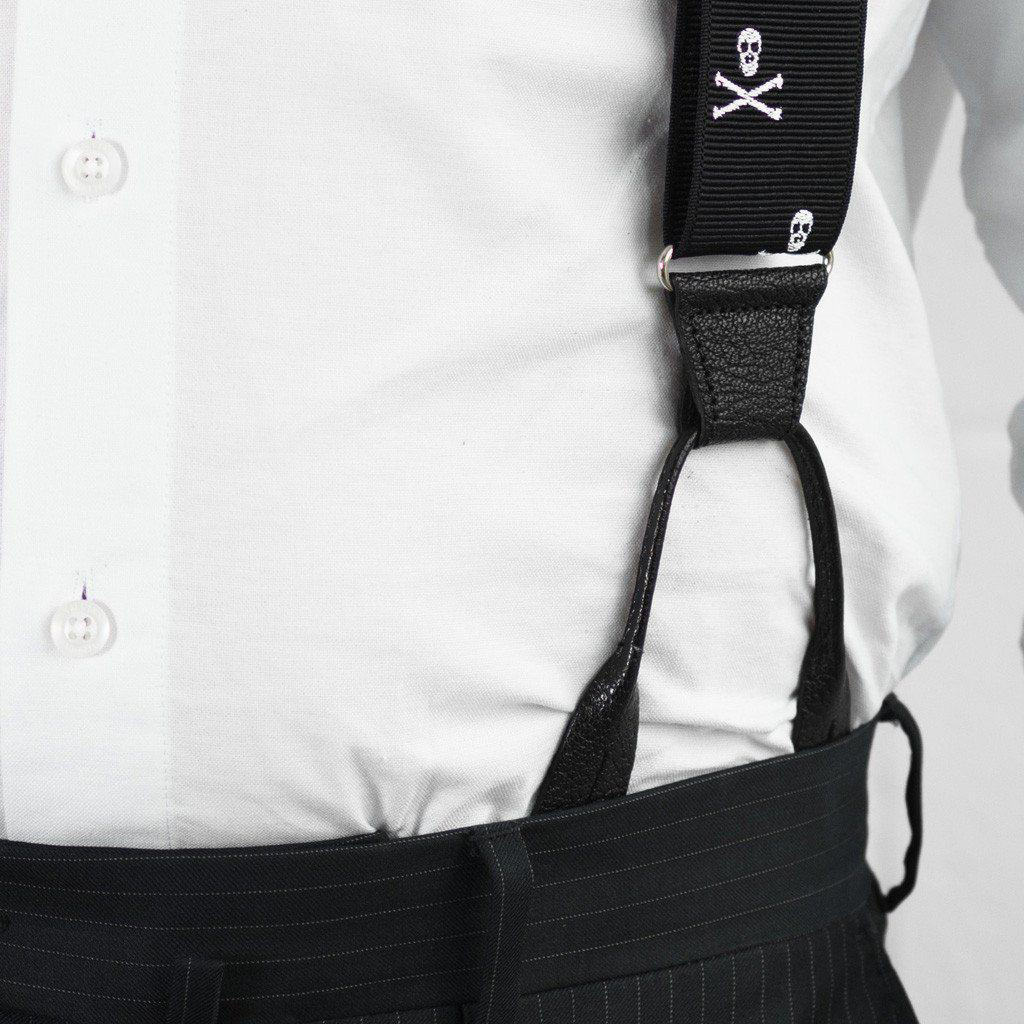 Skull and Bones - Formal Patterned Suspenders - JJ Suspenders