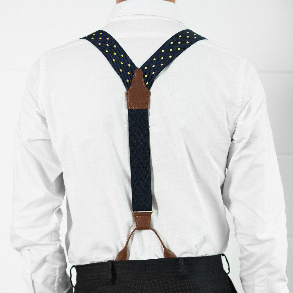 Spot of Sunshine- Spotted Navy & Yellow Suspenders - JJ Suspenders