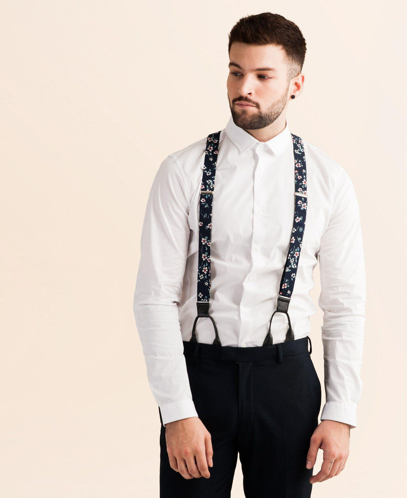 Spring Bloom - Navy Floral Suspenders - JJ Suspenders