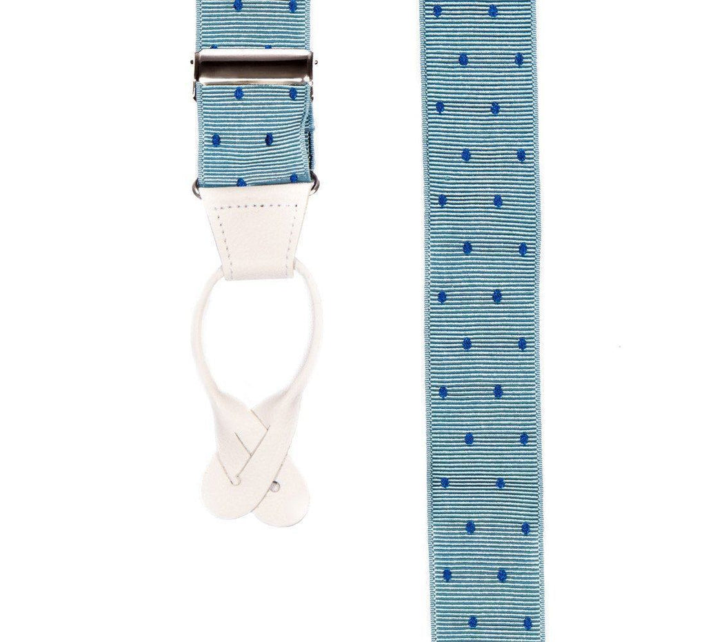 Teal Feel - Spotted Baby Blue Suspenders-Taggs