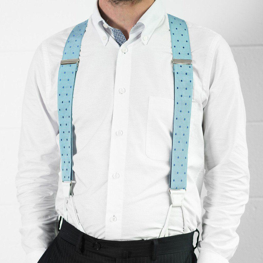 Teal Feel - Spotted Baby Blue Suspenders - JJ Suspenders