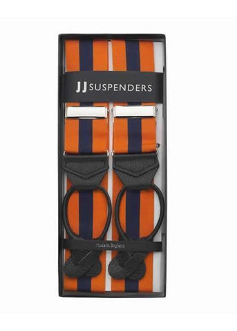 Two to Tang-O - Navy & Orange Striped Suspenders-Taggs