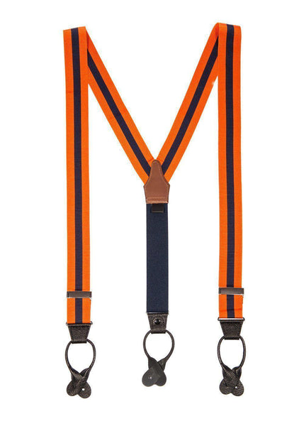 Two to Tang-O - Navy & Orange Striped Suspenders - JJ Suspenders