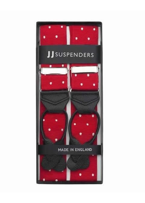 Very Cherry - Spotted Red & White Suspenders - JJ Suspenders