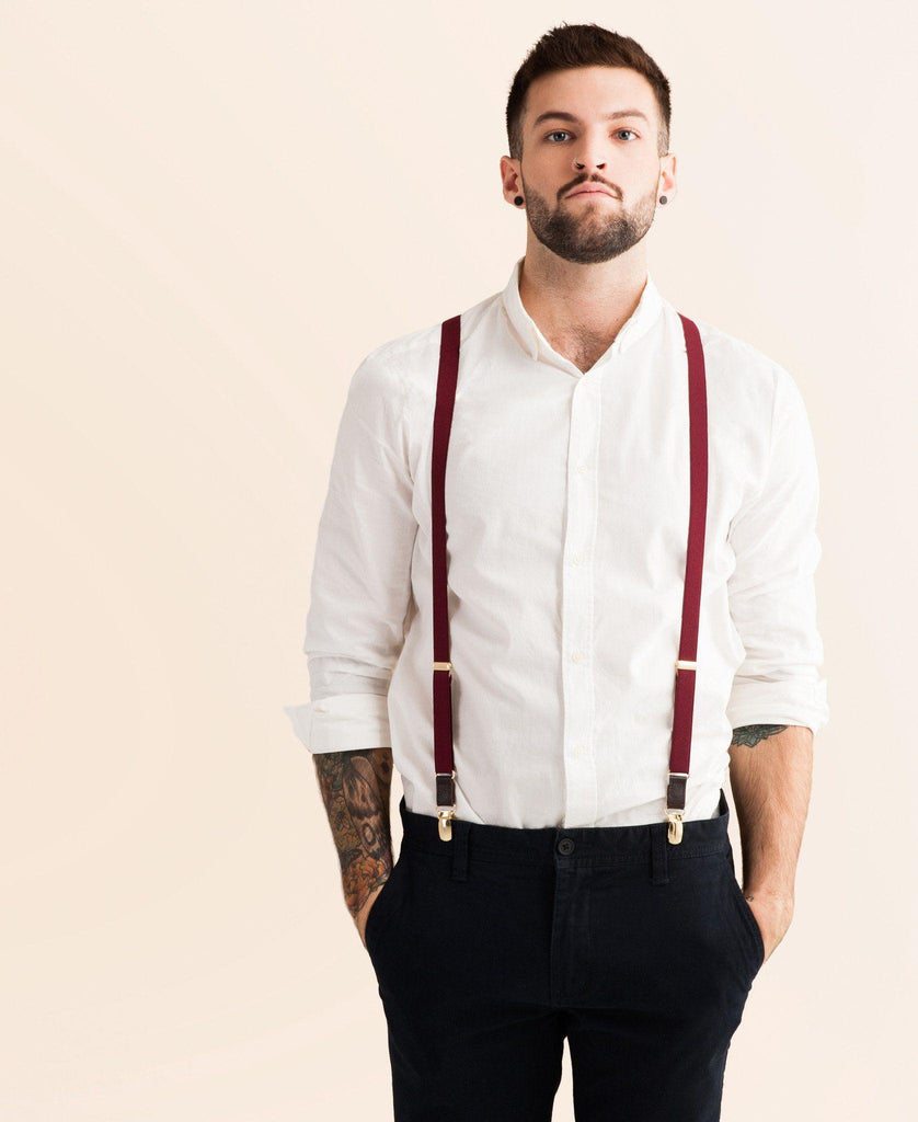 Winter Berry - Skinny Burgundy Suspenders - JJ Suspenders