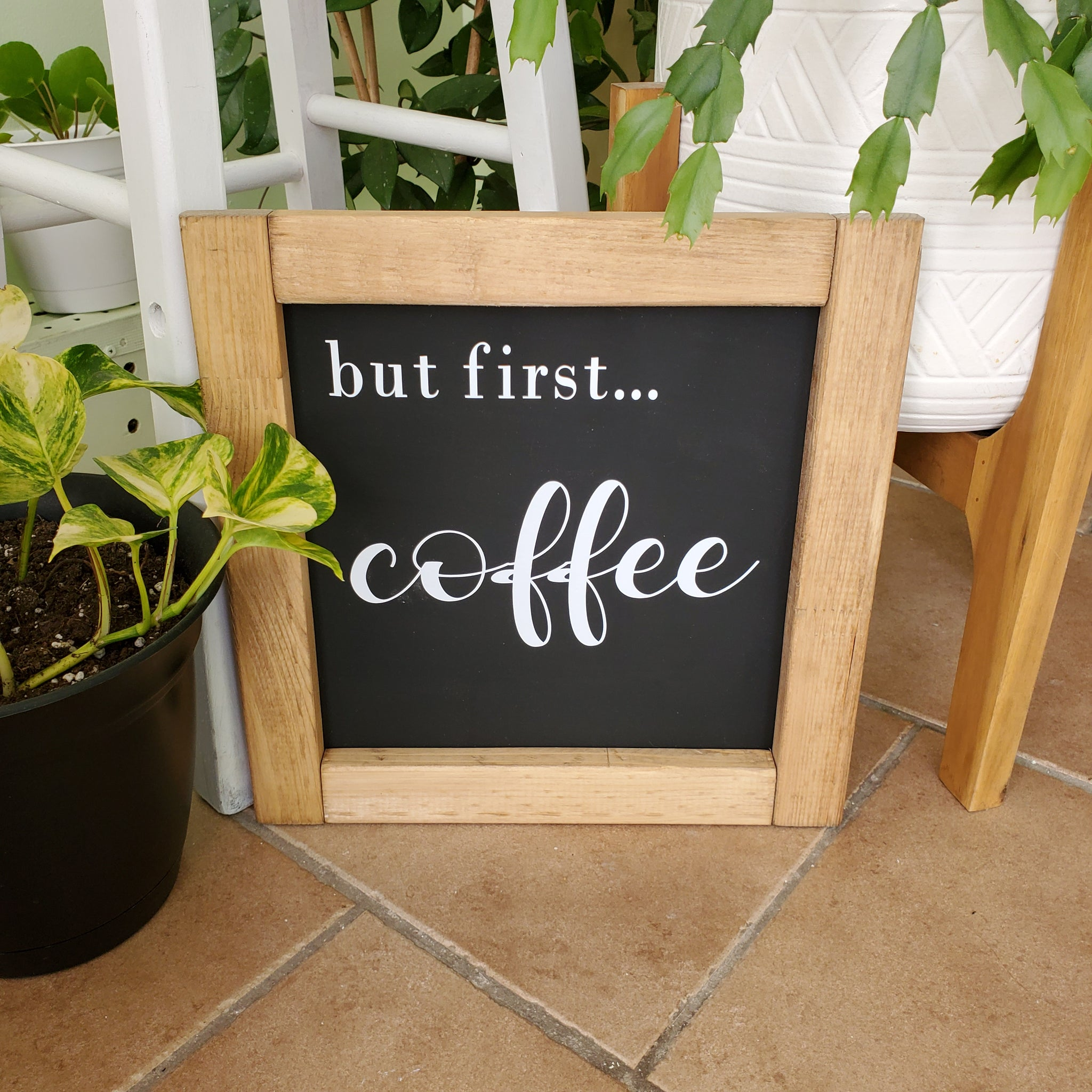 """But First....Coffee"" Wood Sign"