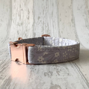 Grey Floral Dog Collar
