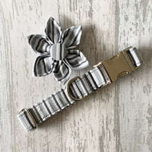 Load image into Gallery viewer, Grey Stripe Dog Collar With Optional Bow Tie, Flower & Lead