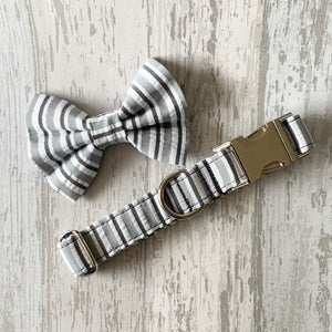 Grey Stripe Dog Collar, Bow Tie & Lead Set