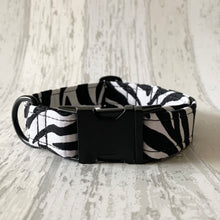 Load image into Gallery viewer, Zebra Print Dog Collar & Bow Tie Set
