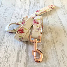 Load image into Gallery viewer, Ivory & Pink Floral Dog Lead