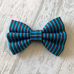 Blue & Chocolate Brown Stripe Dog Bow Tie