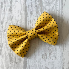 Load image into Gallery viewer, Yellow & Black Polka Dot Dog Collar With Optional Bow Tie, Flower & Lead