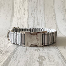 Load image into Gallery viewer, Grey Stripe Dog Collar & Flower Set