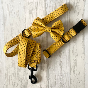 Yellow & Black Polka Dot Dog Collar With Optional Bow Tie, Flower & Lead