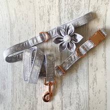 Load image into Gallery viewer, Grey Floral Dog Collar With Optional Bow Tie, Flower & Lead
