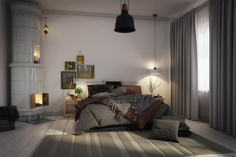 Bedroom with dark curtains