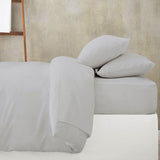 Grey Fitted Bed Sheet with Duvet and Pillow Cases
