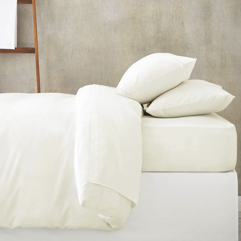 Ivory Fitted Bed Sheet with Duvet and Pillow Cases