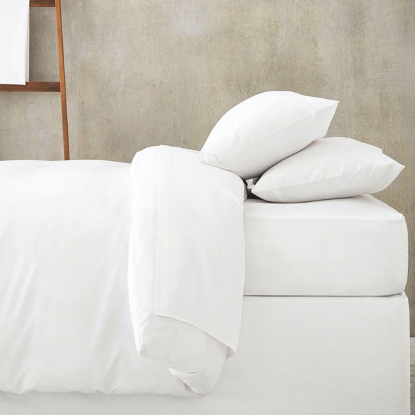 White Fitted Bed Sheet with Duvet and Pillow Cases