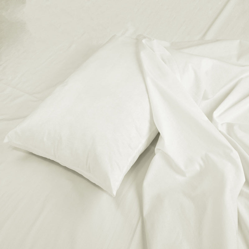 Ivory Pillow Case and Flat Sheet