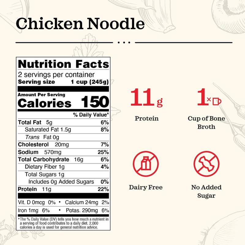 Load image into Gallery viewer, Chicken Noodle Bone Broth Soup (16.9 oz)
