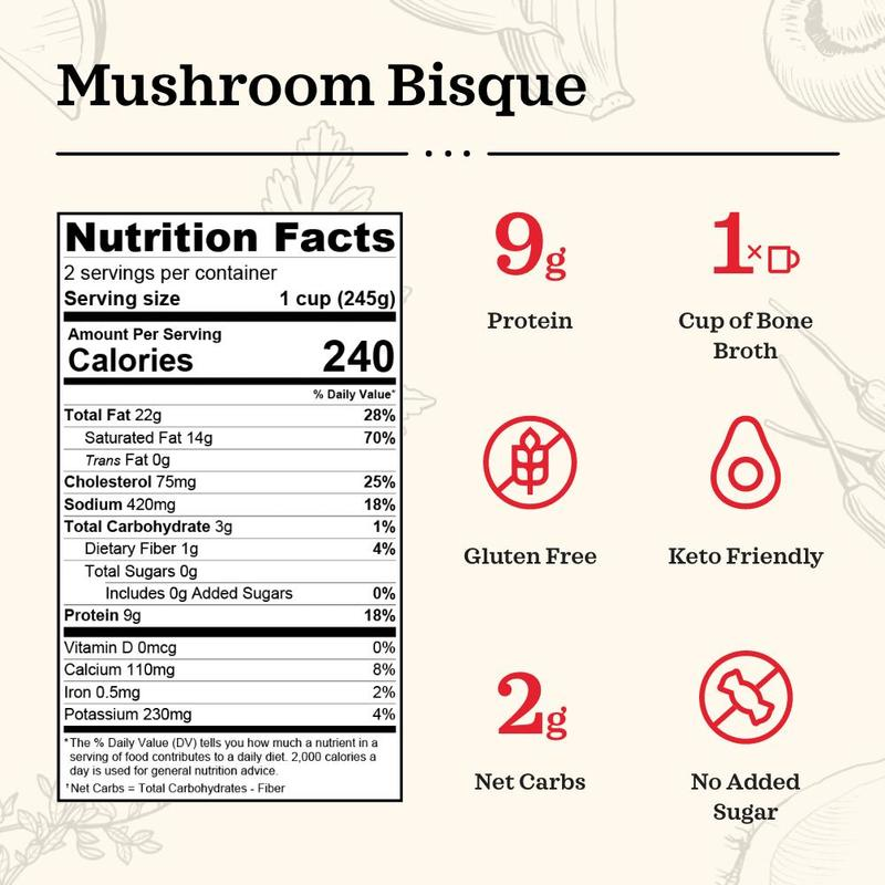 Load image into Gallery viewer, Mushroom Bisque Bone Broth Soup (16.9 oz)