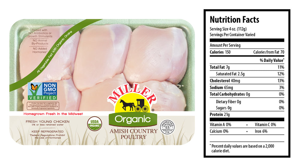 Organic Chicken Thighs, Frozen (Boneless, Skinless)