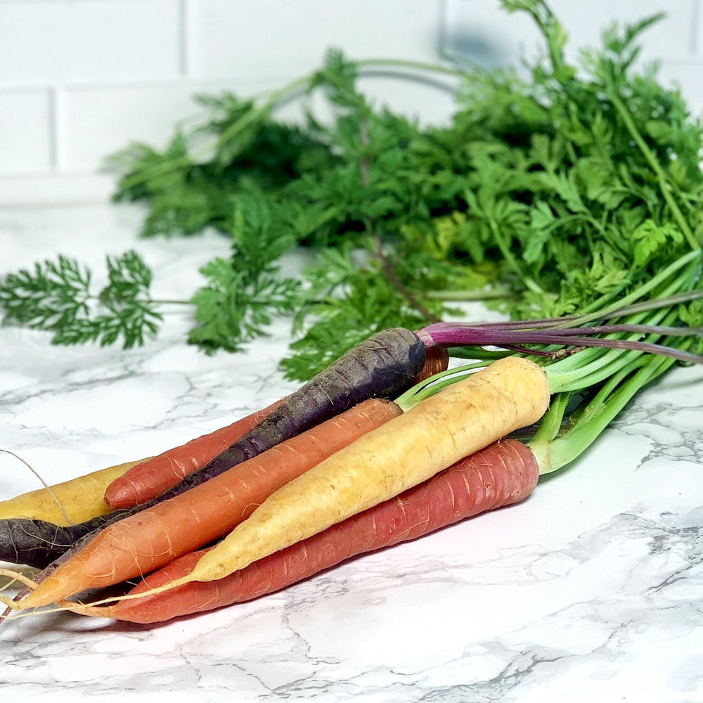 Organic Rainbow Carrots, with tops (Bunch)