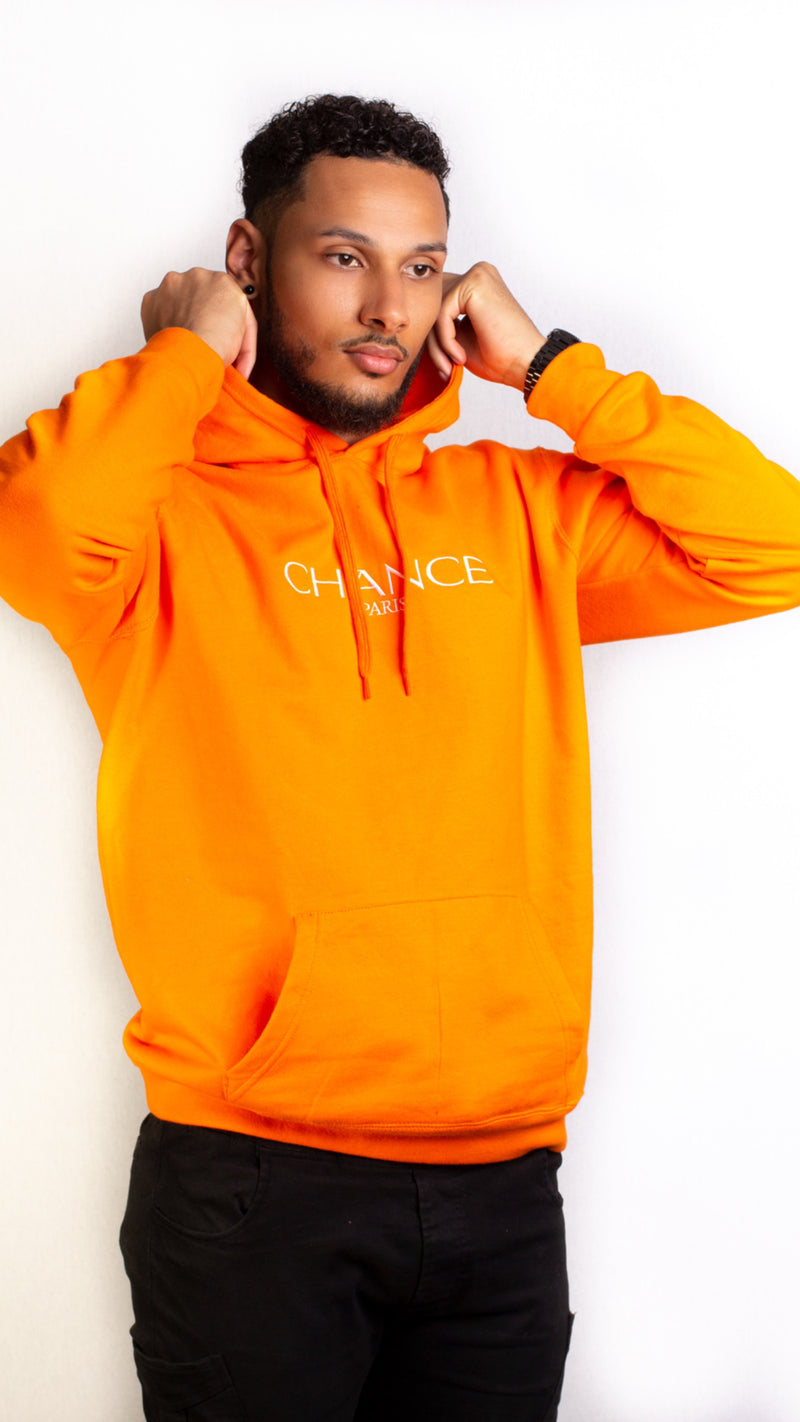Chance Paris Men Hoodie White Embroidered Logo