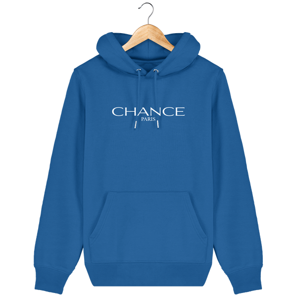 Chance Paris Men Medium Fit Hoodie White Embroidered Logo