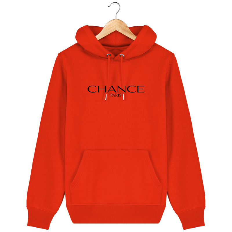 Chance Paris Men Medium Fit Hoodie Black Embroidered Logo