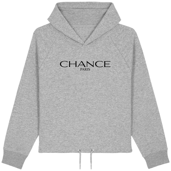 Chance Paris Women Cropped Hoodie Black Embroidered Logo